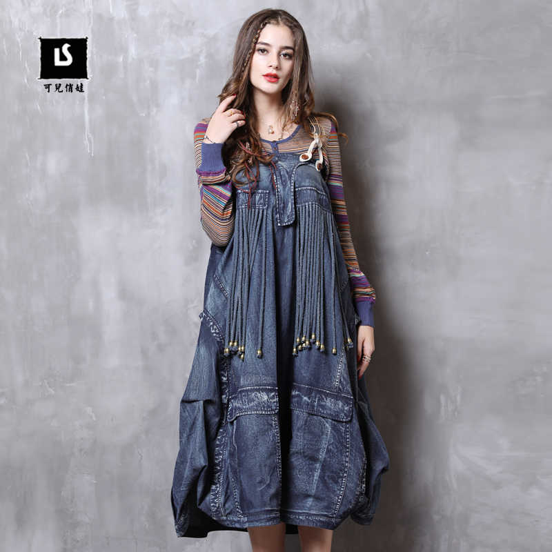 Women Denim Dress 2018 Keer Autumn Boho Cotton Strapless Lantern Sleeve  Vestidos Vintage Denim Vestido A82116