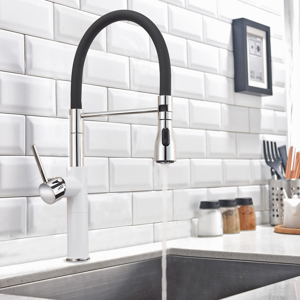 Chrome White/Brushed Nickel Pull Out /Down Kitchen Faucet Single Handle Rotation Spout Kitchen Sink Mixer Tap Deck Mounted luxury pull out chrome brushed nickel finish kitchen faucet mixer single hole deck mounted