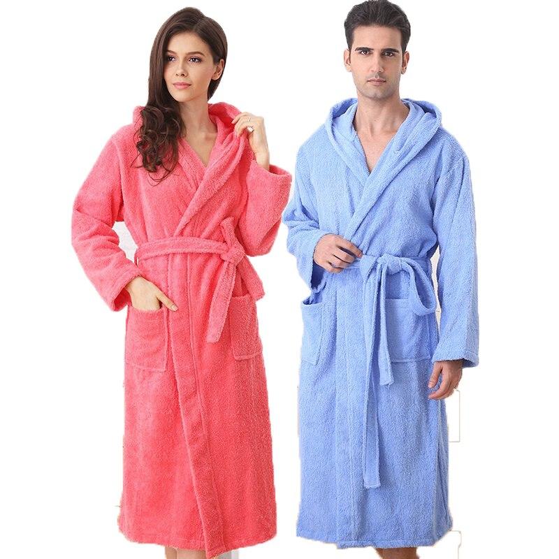 Hooded cotton men bathrobe plus siez XL pajamas women towel fleece robe winter thick soft long loves home spring white blue
