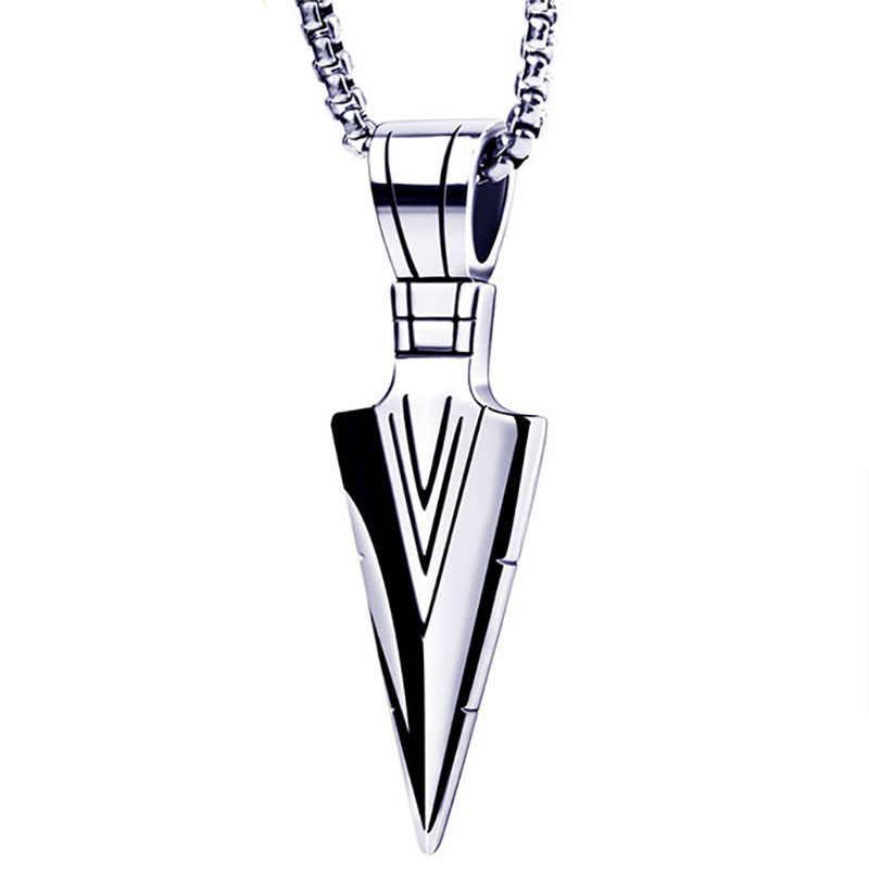 Spearhead Stainless Steel Necklace Titanium Steel Fashion Trend Personality Creative Geometric Retro Men Pendant Arrow Necklace