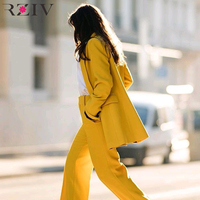 RZIV Spring Women Blazers And Jackets and Long Sleeve Casual Yellow Color Double Breasted Suit OL Style