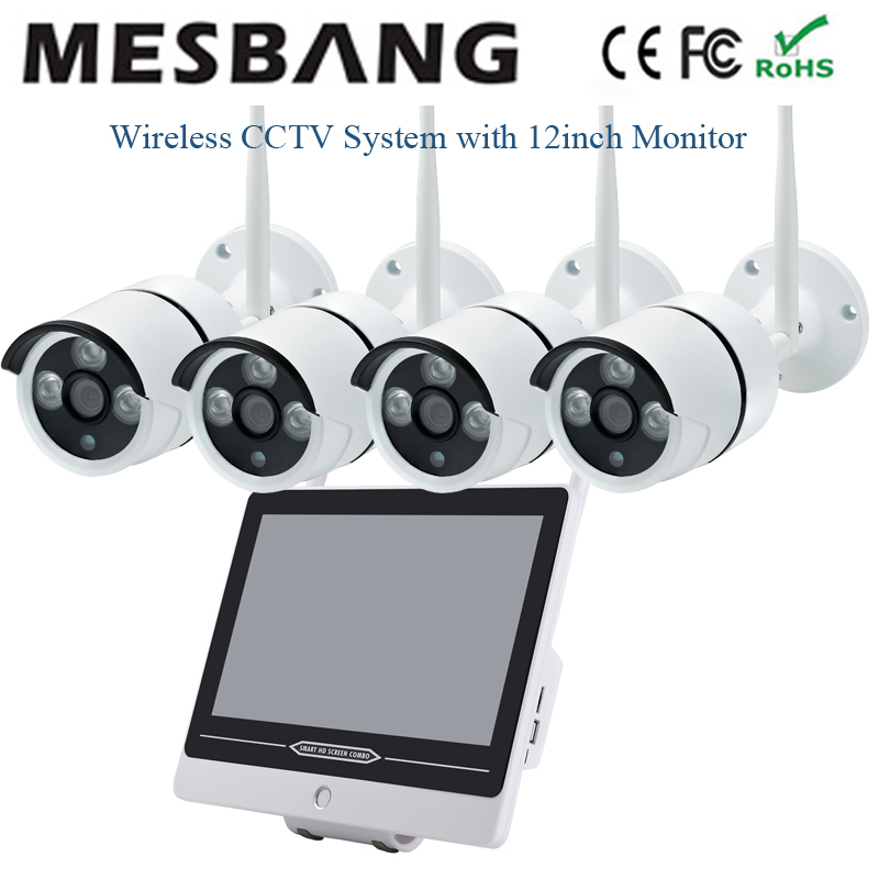 720P wifi IP Camera system outdoor wireless CCTV camera system cctv NVR 4ch wifi IP security camera system with 12inch monitor