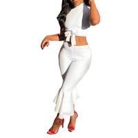 Two Piece Set Women Bodysuit 2018 Runway Lolita Style White Plus Size Long Pants Palazzo Rompers Jumpsuit xl xxl xxxl 301039