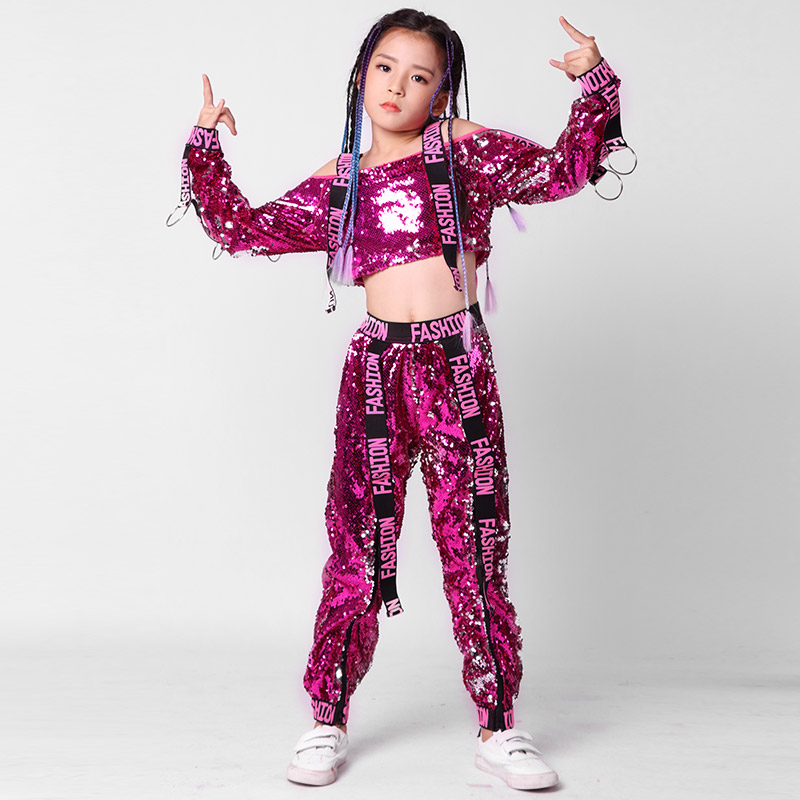 New Sequins Children Perform Jazz Dance Costumes Dance Girls Jazz Strapless Long Sleeve Hiphop Clothing 110-160cm Height