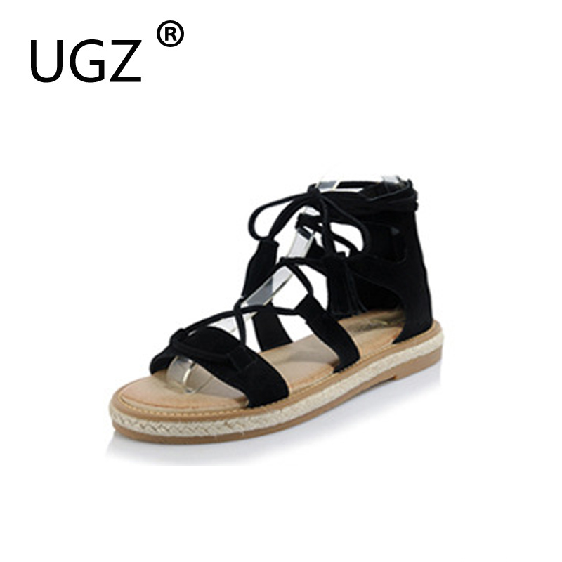 UGZ Woman Summer Sandals Genuine Leather Casual Flat Straps Roman Sandals Gladiator Shoes Beige Yellow Black Plus Size 33-42 gladiator sandals 2017 summer style comfort flats casual creepers platform pu shoes woman casual beach black sandals plus us 8
