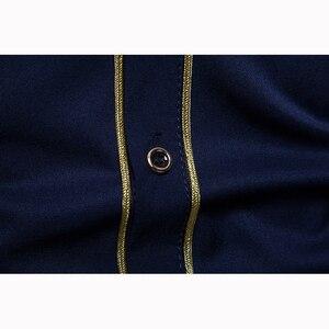 Image 5 - Ab boyutu erkeklerin gündelik uzun kollu gömlek standı boyun çin tarzı üstleri gömlek erkek nakış desen pamuk blend gömlek