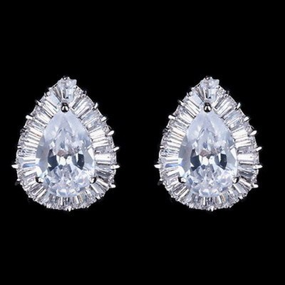 NICETER Oval Cut Top Quality Swiss Cubic Zircon Diamond Stud Earrings Brillant Clear Stone Earring N806718K Gold Plated Brincos