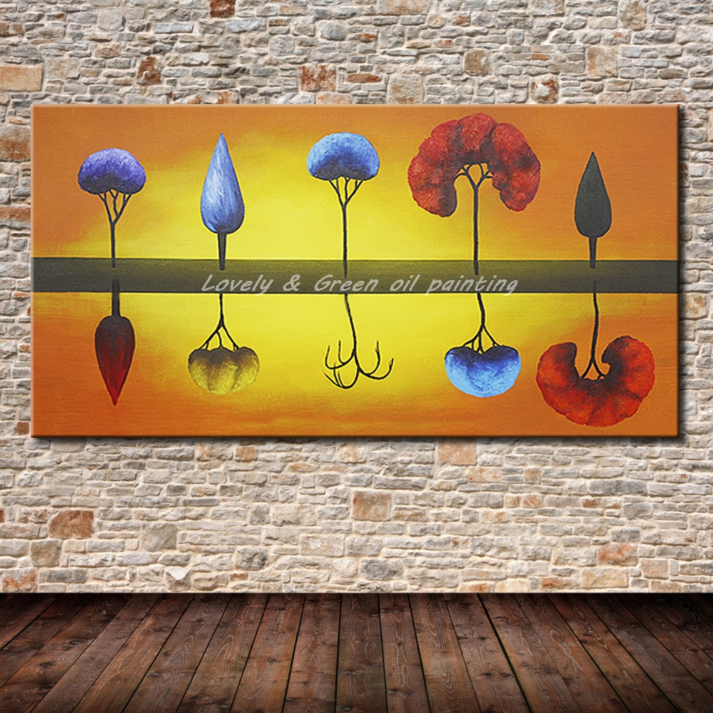 Hand Painted Canvas Oil Paintings Modern Abstract Inverted Image ...