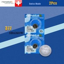 2 шт./лот, розничная, бренд Renata, долговечный 377 SR626SW SR626 V377 AG4, часы, батарейка, кнопка, монета, ячейка, швейцарское производство