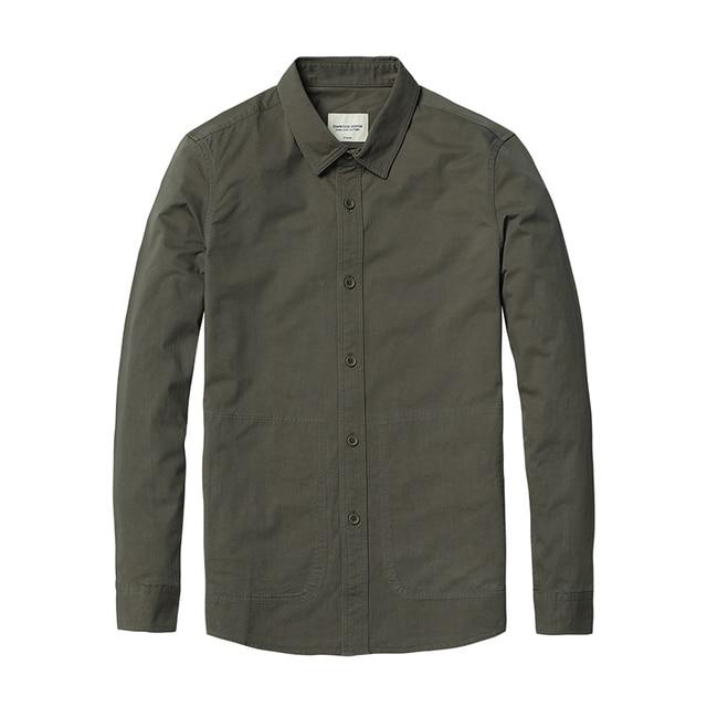Casual pocket 100% cotton slim fit high quality Shirt 5
