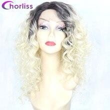 купить✲  Afro Kinky Вьющиеся парики фронта шнурка Синтетические парики для чернокожих женщин Chorliss