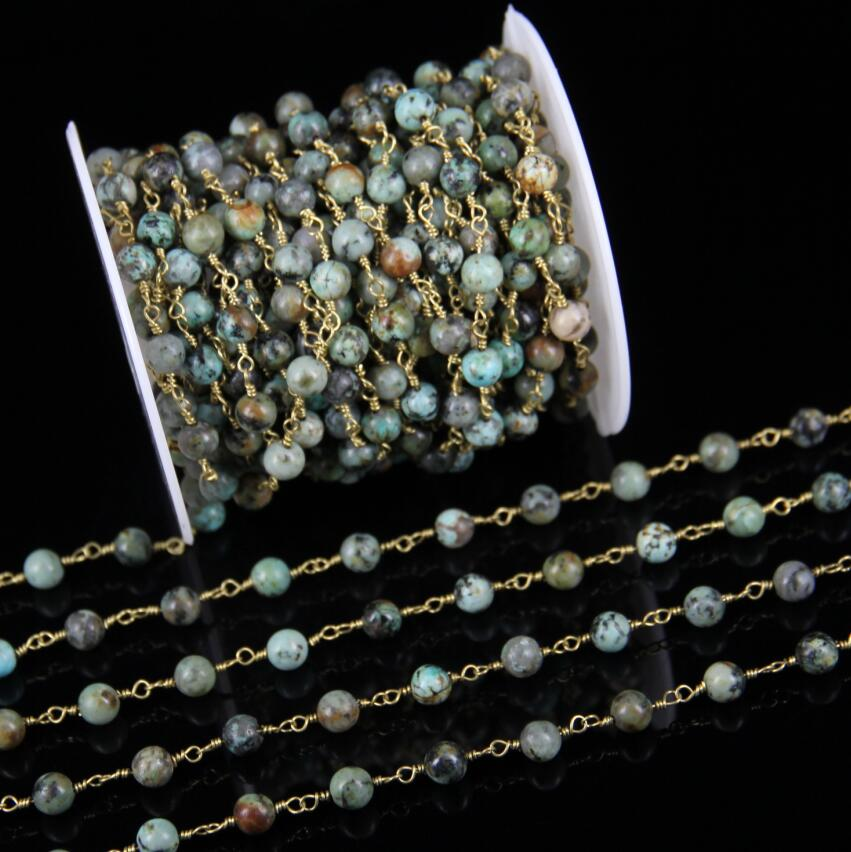 Fashion Chains Jewelry 5meters Africa Turquoises Round Beads Chains 6mm Stones Rosary Chain Wire Wrapped Plated