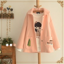 Lovely Trees Shed Doll Brought Thick Loose Cloth Coat Japanese Sen Female 2017 Winter Women's Clothing Wholesale