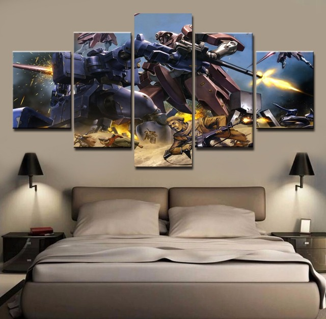 Awesome Frame 5 Piece Gundam Canvas Painting Art For Home Decor Paintings On Canvas  Wall Art For
