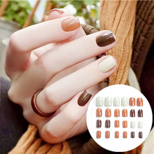 24Pcs Solid Plain Color Glitter Acryli Nail Tips Round Square Full Cover False Nails Tip Finished Manicure Stickers