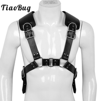 TiaoBug Mens PU Leather X Back Metal O Rings Sexy Strong Muscle Male Club Costumes Body Chest Men Harness BDSM Bondage Belt Top