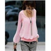 2013 Women Spring Shirts New Korean Chiffon Long Sleeved Puff Sleeve Round Neck Fake Two Piece