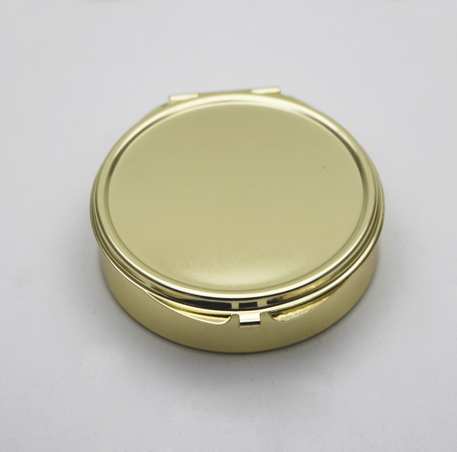 Gold Compact Mirror With 3 Compartments Inside Powder Handbag