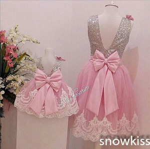 Image 3 - Sliver Bling Sequin Pink White Lace Backless flower girl dresses with Bow baby Birthday Party Dress wedding occasion ball gowns