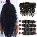 Brazilian Deep Wave Lace Frontal Closure With Bundles Deep Wave Brazilian Hair 3 Bundles With Frontal Closure 13*4 Ear To Ear