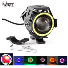 WHDZ 1pcs Motorcycle LED Headlight Fog Light U7 125W 3000LM Devil Angel Eye motorbike headlights U7 LED Spot Lamp