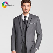 Italy Style Custom Made Grey Men Suits for Wedding 3 Pieces Pants Vest Best Man Blazers Jacket Slim Fit Groom Tuxedos Prom Wear