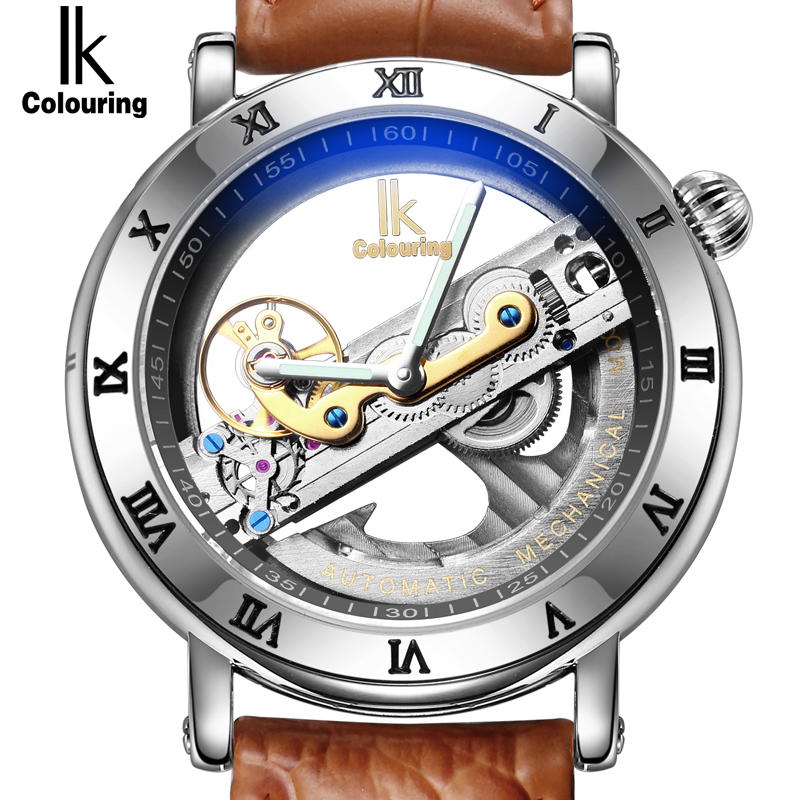online buy whole transparent watches for men from ik automatic mechanical watches men brand luxury rose gold case genuine leather skeleton transparent hollow watch