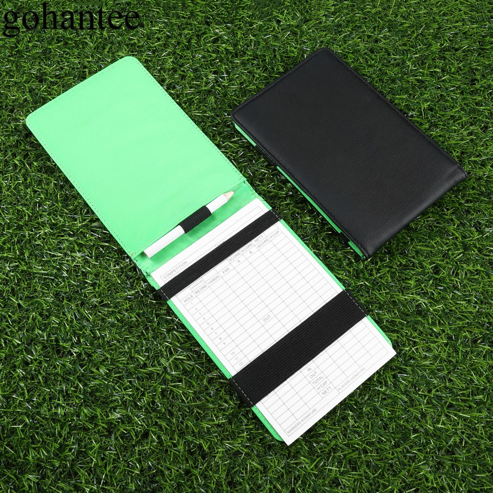 Gohantee PU Creative Golf Scorecard Holder As Golfer Gifts Golf Accessories 1 PU Score Card Holder+1 Wooden Pencil+ 1 Score Card