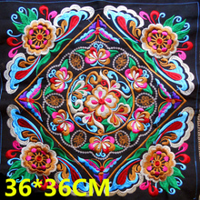 35*35cm Vintage Square Embroidery Patches Ethnic Miao Patch Garment Sewing Accessories Clothing Bag Diy Embroidered Flower Patch
