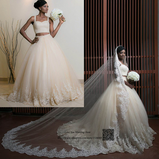 Sexy 2 Piece Wedding Dresses Beaded Ball Gown Arabic Bridal 2017 Lace Gowns Alibaba