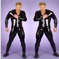 Большой размер мужской кожи комбинезон комбинезон мужские фетиш латекс парни весь рукавами плотный боди комбинезон клуб S-3XL