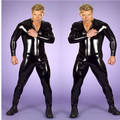 Plus Size Male Leather Catsuit Jumpsuit Mens Fetish Latex Men Full Sleeved Tight Thin Bodysuit Catsuit Club Hot S-3XL