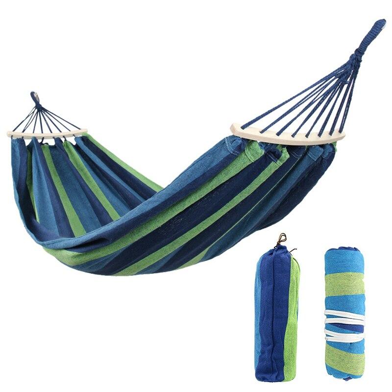 280*150 cm 2 personnes Portable toile extérieure Camping hamac plier bâton de bois stable Hamak jardin balançoire chaise suspendue