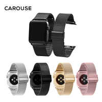 Carouse Milanese Loop Watchband for Apple Watch Series 1/2/3 42mm 38mm Stainless Steel Band for iwatch Series 4 40mm 44mm Strap