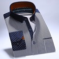 100% Cotton Autumn New Men Casual Shirts Patchwork Striped Polka Dot Fashion Printed Long Sleeve Quality Soft Men's Dress Shirt