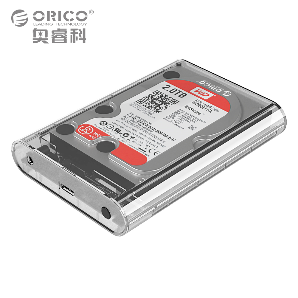 ORICO 3.5 Inch Transparent HDD Enclosure Case USB 3.0 5Gbps SATA3.0 Support UASP 8TB Drives Designed  for Notebook Desktop PC корпус для hdd orico 5 3 5 ii iii hdd hd 20 usb3 0 5 3559susj3