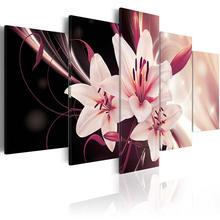 5 шт настенные картины с изображением розовых лилий