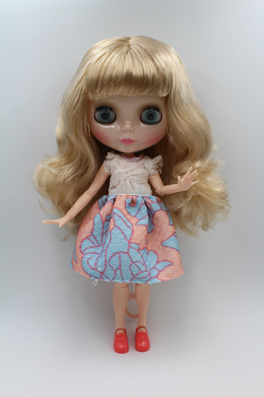 Free Shipping BJD joint RBL-210J DIY Nude Blyth doll birthday gift for girl 4 colour big eyes dolls with beautiful Hair cute toy free shipping nude blyth doll pink hair big eye doll for girl s gift pj002