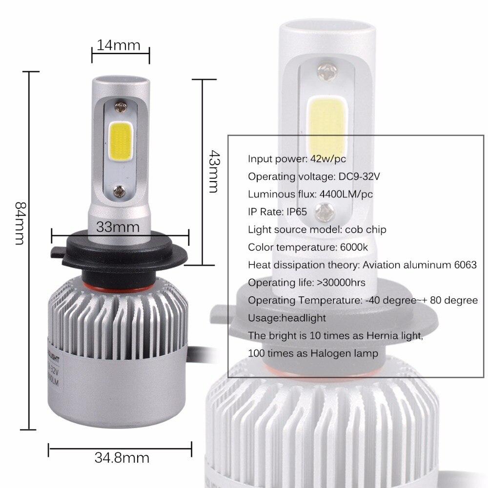 AutoEC 1set S2 42W H7 H11 9005 9006 COB LED İşıq lampaları - Avtomobil işıqları - Fotoqrafiya 2