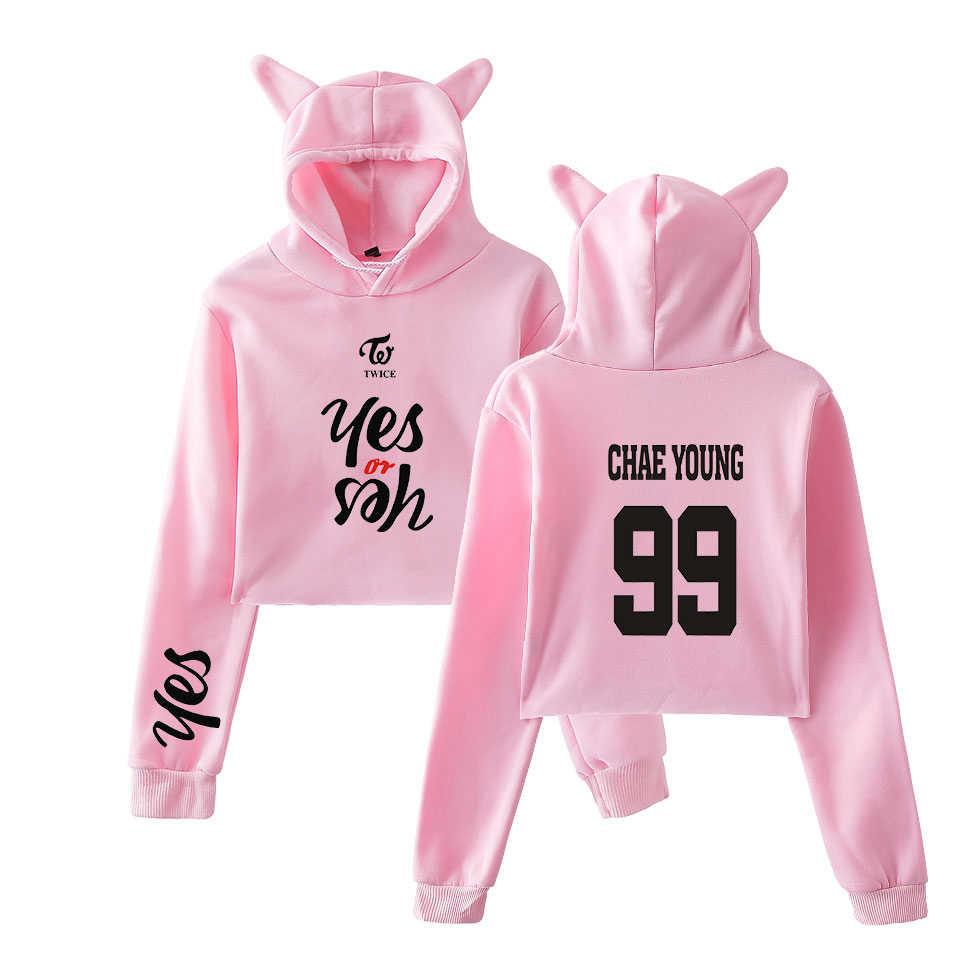 Nueva moda verano Crop Top Hoodies dos veces Kpop manga larga Cropped Hoodies gato con capucha pulóver Crop Tops ropa