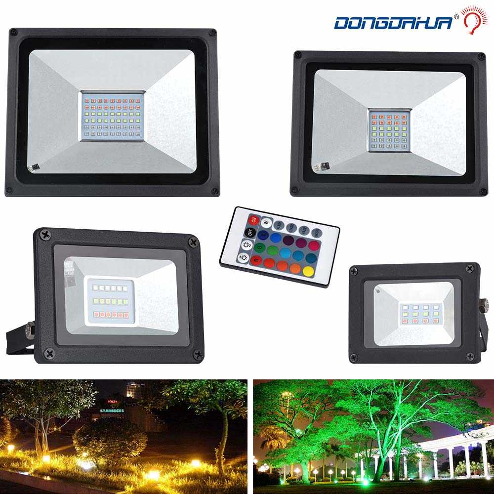 Led Spotlight Outdoor RGB Flood Light Color Changing Led Reflector 10W 20W 30W 50W Waterproof Outdoor Floodlight Garden 220V