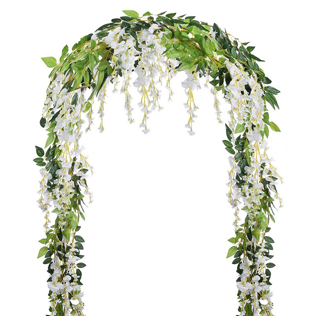 Artificial Fake Wisteria Vine Rattan Hanging Garland White Silk Flowers String Home Party Wedding Decoration Outdoor