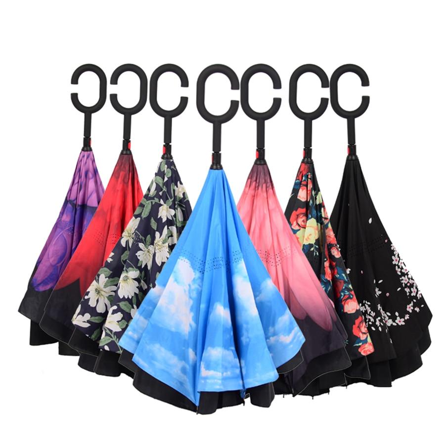 Reverse Umbrella Rain Women Double Flower Anti-UV Hand Free El Rey Leone Damen Black Coat Umbrella Men Windproof Large DDD5X