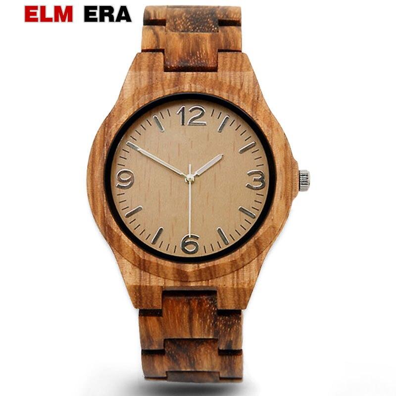 Elmera relógio de madeira masculino reloj hombre 2018 relógio de pulso grande dial relógio de madeira marca masculino