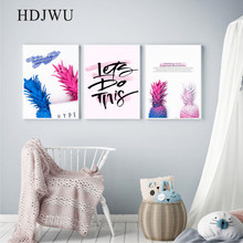 Nordic Canvas Painting Home Wall Picture Cute Pineapple Pink Printing Posters for Living Room Decor AJ00188