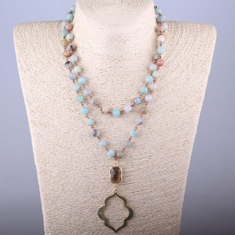 MOODPC Envío Gratis Piedras de Amazonita Joyería Tribal Bohemia Rosario Cadena de Cristal y Labio Colgante Collar