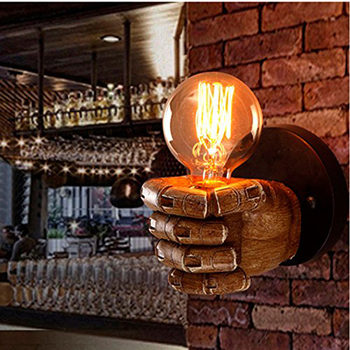 Xsky Classical Resin Fist Wall Lamps Corridor Cafe Restaurant Bar Bedroom Retro Wood Sconce Wall Light E27 Lamp Holder 90V-260V