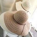 2017 Del Cordón Del Verano Sombreros de Sun Para Las Mujeres Nueva Moda Side Cap Sombreros de Ala Ancha Beach Floppy Sombrero de Paja Femenino