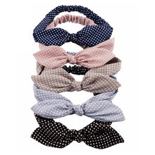 High Quality Cotton Striped Headband For Women Lady Knotted Bow Rabbit Ear Stretch Cutey  Hair Accessories