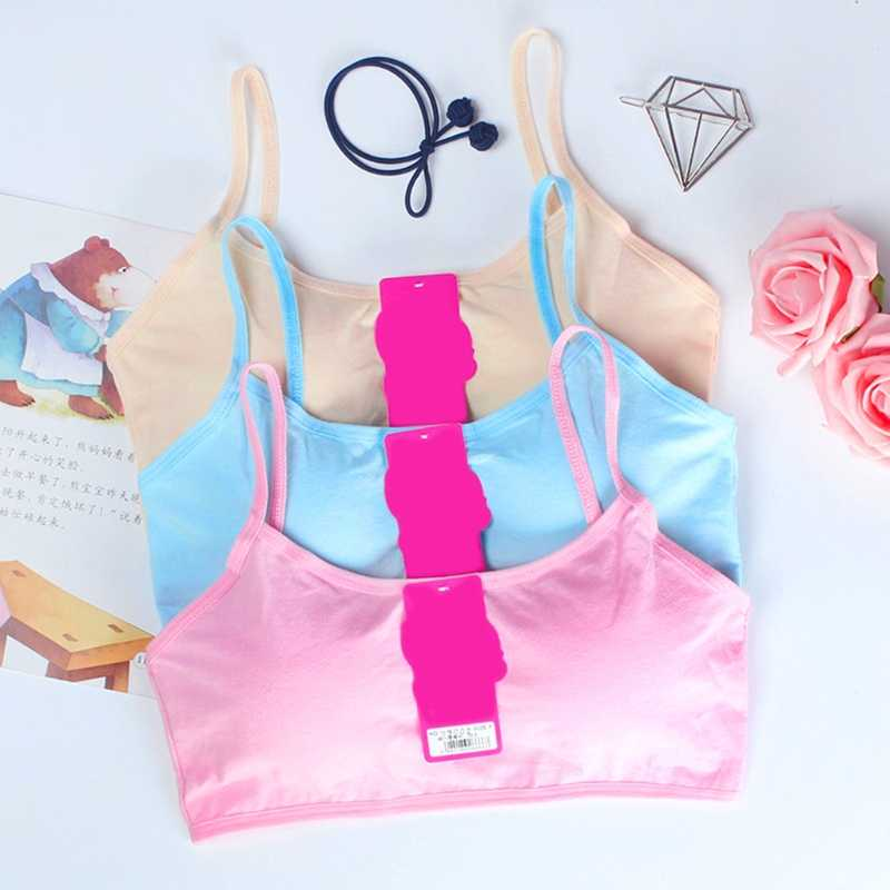 Young Girls Solid Soft Cotton Bra Puberty Teenage Breathable Underwear Kid Cloth